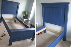 twin bed plans | Twin Farmhouse Bed | Do It Yourself Home Projects from Ana White
