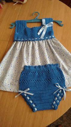 Best 12 Handmade Baby Dress and Headband Crochet Yoke, Crochet Fabric, Crochet For Boys, Baby Girl Dresses, Little Dresses, Baby Dress, Toddler Dress, Newborn Crochet, Crochet Baby Booties