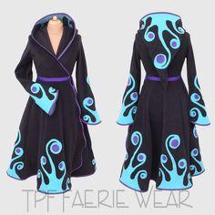 Swirly Plain Fleece 'Tournedot' jacket by tpffaeriewear on Etsy