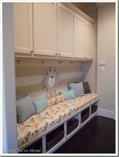 mudroom designs pictures-like the padded bench with the overhead cabinets, but would like a closet on the end for coats
