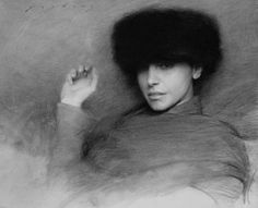 'Fur Hat 18' - charcoal on paper by Jeremy Lipking