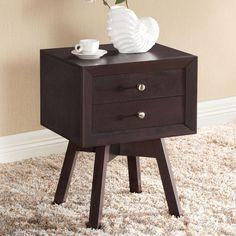 Bedside Nightstand Table Drawer Brown Modern Mid Century Bedroom Furniture New #BaxtonStudio #ContemporaryMidCentury #Bedside #Nightstand #Table #Drawer