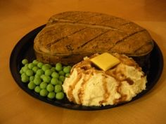 Steak Cake with Peas, Mashed Potatoes  Gravy