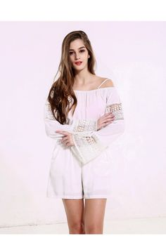 Lace stitching dew shoulder strap jumpsuit long-sleeved hollow out the pure…