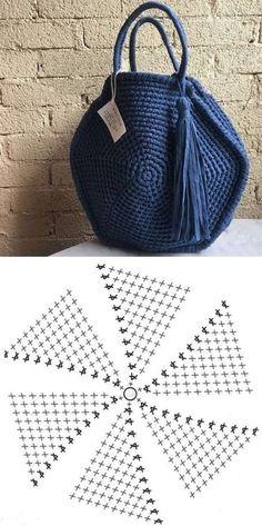 Faça e venda: Bolsa de fio de malha com gráfico dos pontos ⋆ De Frente Para O Mar - - Crochet Tote, Crochet Handbags, Crochet Purses, Crochet Stitches, Knit Crochet, Knitting Patterns, Crochet Patterns, Knitting Tutorials, Bag Patterns