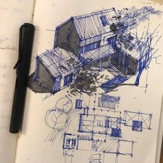 House Sketch Architecture Drawings New Ideas Pen Sketch, Drawing Sketches, Cool Drawings, Drawing Ideas, Architecture Drawing Sketchbooks, House Sketch, House Drawing, Interior Sketch, Interior Design