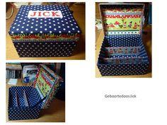 Geboortedoos - gemaakt van oude kartonnen opbergmappen , bekleed met katoen,  naam geborduurd met kruissteek benalwysbusy@gmail.com