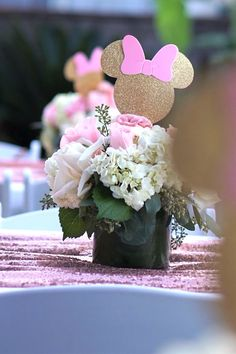 Floral guest table centerpiece from a Glamorous Floral Minnie Mouse Birthday Party on Kara's Party Ideas | KarasPartyIdeas.com (4)
