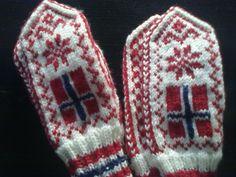 Flaggvotter Mittens whit Norwegian flag