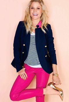 Nautical striped shirt, navy blazer, bright colored jeans