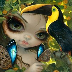 Faces of Faery 236 Toucan Tropical Fairy Jasmine Becket-Griffith - fantasy artwork big eyes big eyed Costa Rica tropical blue morpho butterflies parrot bird