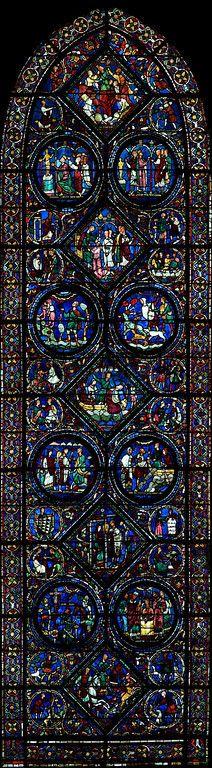 Um dos 176 vitrais de Chartres (catedral gótica na França) mostram histórias da Bíblia e do cotidiano do século XIII.