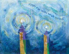 Inspirational Painting   Painting Print Reproduction   L chah Dodi  Shabbat  CandlesShabbat  Israeli Jewish Art  The Shabbat Queen by Israeli artist Elena  . Shabbat Candle Lighting Miami. Home Design Ideas