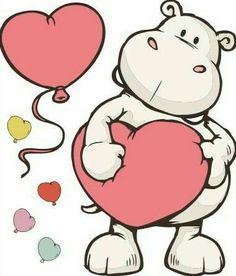 Goofy Drawing, Cartoon Drawings, Animal Drawings, Cute Hippo, Baby Hippo, Art Drawings For Kids, Cute Drawings, Origami Paper Art, Ideias Diy