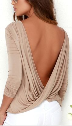 blouse top backless backless top open back twists long sleeves long sleeve crop top sexy summer cute draped beige casual Spring Summer Fashion, Spring Outfits, Fashion Fall, Style Fashion, Fashion Trends, Cool Outfits, Fashion Outfits, Womens Fashion, Brown Long Sleeve Tops