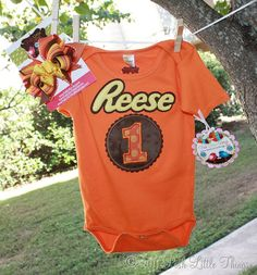 Reese's butter cup birthday party shirt onesie outfit
