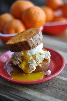 Sweet Potato Bun Breakfast Sandwich: Make your bread with just oven baked sweet potatoes!