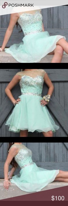 Mint Green Prom Dress size extra small to small, beautiful, rhinestones, dress for any formal events:prom, homecoming, dance, wedding, parties worn once no rips or tears or stains Dresses Prom
