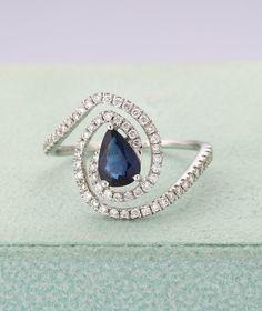 Blue Rings, White Gold Rings, White Gold Diamonds, Rose Gold, Pear Ring, Pear Shaped Engagement Rings, Art Deco Ring, Color Ring, Diamond Wedding Rings