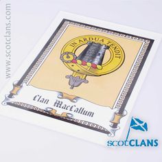 MacCallum Laminated Clan Crest Print. Free Worldwide Shipping Available