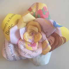 Upcycled handmade Disney Princess paper rose by Karolina Rose #DisneyFan #Belle #BeautyAndTheBeast