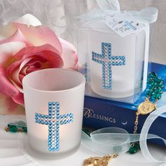 Religious Favor: Blue Bling Cross Candle Favors For First Holy Communion Communion Party Favors, Communion Decorations, First Communion Cakes, First Holy Communion, Communion Centerpieces, Christening Favors, Baptism Favors, Baptism Party, Baptism Ideas