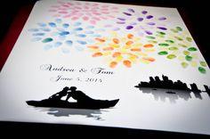 Thumbprint Fingerprint Fireworks Wedding Guest Book Alternative / Guest Sign in / Poster