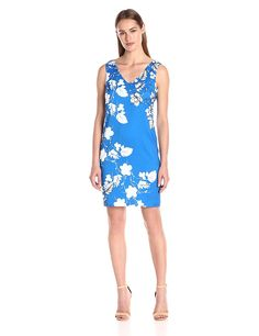 Vince Camuto Women's Sleeveless Floral-Cascade V-Neck Dress -- Quickly view this special  product, click the image : Dresses for women