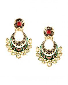 Meenakari Green Crescent Earrings