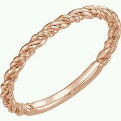 14K Rose Gold Rope Ring Size 7