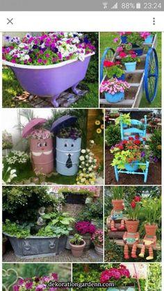 stunning spring garden ideas for front yard and backy Diy Garden Bed, Garden Junk, Garden Crafts, Diy Garden Decor, Garden Projects, Garden Art, Garden Design, Outdoor Flower Planters, Outdoor Flowers