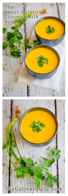 On Futility and A Thai Coconut Milk Soup with Sweet Potatoes Thai Coconut Milk, Cooking With Coconut Milk, Thia Food, I Love Food, Bowl Of Soup, Soup And Salad, Vegetarian Recipes, Cooking Recipes, Healthy Recipes
