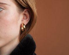 Boucles d'oreilles créoles épaisses or / or clip sur boucles d'oreilles / petites boucles d'oreilles créoles / 1385a