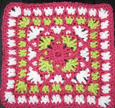 I'm thinking a blanket from these grannies with white as the accent and multiple different colors in the middle.