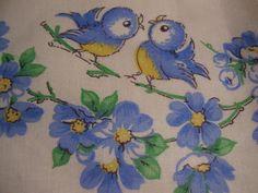 Vintage 1940's. 50's Blue Bird Pillow Case Apron by TheLastPixie, $26.50
