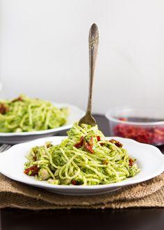 Spinach and broccoli pesto spaghetti - omit Parmesan & use gf spaghetti
