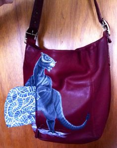 Tauntaun upcycled hand painted leather purse by catpenfold on Etsy, $140.00
