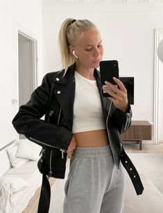 From The Week (Victoria Törnegren) Leather Skirt, Leather Jacket, Victoria, Suits, Jackets, June, Outfit, Women, Style