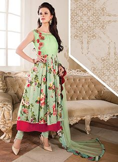 Pastel Green Art Silk Anarkali Suit