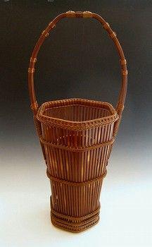 Japanese ikebana basket, bamboo hanakago, at www.Jcollector.com