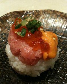 Sushi with tuna, sea urchin, and salmon roe caviar.   Yum!    From Senryo in Taikoo Shing, Hong Kong.