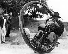 Man riding a monowheel, c. 1931. // Mom, Mom, look--it's Howard Hughes!