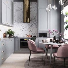 """Canvas Home Interiors on Instagram: """"This kitchen is everything and more ! . . . 📷planaspb_com . . #homedecor #interiordesign #inspiration #tomford #blacklips #art #pink…"""""""
