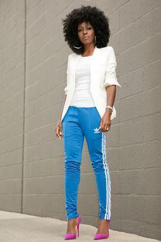 White Blazer + Tank + Adidas Track Pants