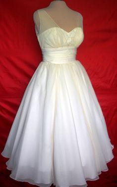 50's inspired organza tea length wedding dress $265.00