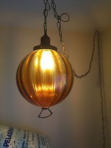 Lovely Vintage Mid Century Hanging Swag Lamp Tan Gold Glass Globe Chain With Switch