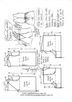 Macaquinho abotoado na frente | DIY - molde, corte y costura - Marlene Mukai