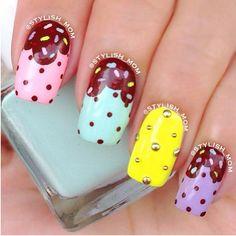 Ice cream nails for summer Cute Nail Art, Cute Nails, Pretty Nails, Nail Polish Designs, Cool Nail Designs, Fabulous Nails, Gorgeous Nails, Ice Cream Nails, Wow Nails