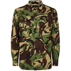 Rag & Bone Heath Camouflage Overshirt ($410) ❤ liked on Polyvore featuring men's fashion, men's clothing, men's shirts, men's casual shirts, mens military style shirt, mens camo shirt, mens print shirts, mens patterned shirts and men's spread collar dress shirts