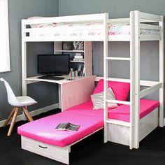 Cutler European Single High Sleeper Loft Bed with Shelf and Desk Loft Beds For Teens, Bunk Beds For Girls Room, Bunk Bed With Desk, Girls Bedroom, Cool Rooms For Girls, Girl Loft Beds, Girl Rooms, Loft Beds For Small Rooms, Loft Bunk Beds